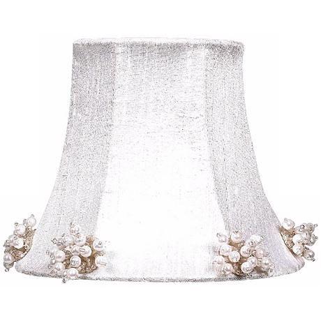 White Silk Shade with Pearl Burst Trim 3x5x4.25 (Clip-On)