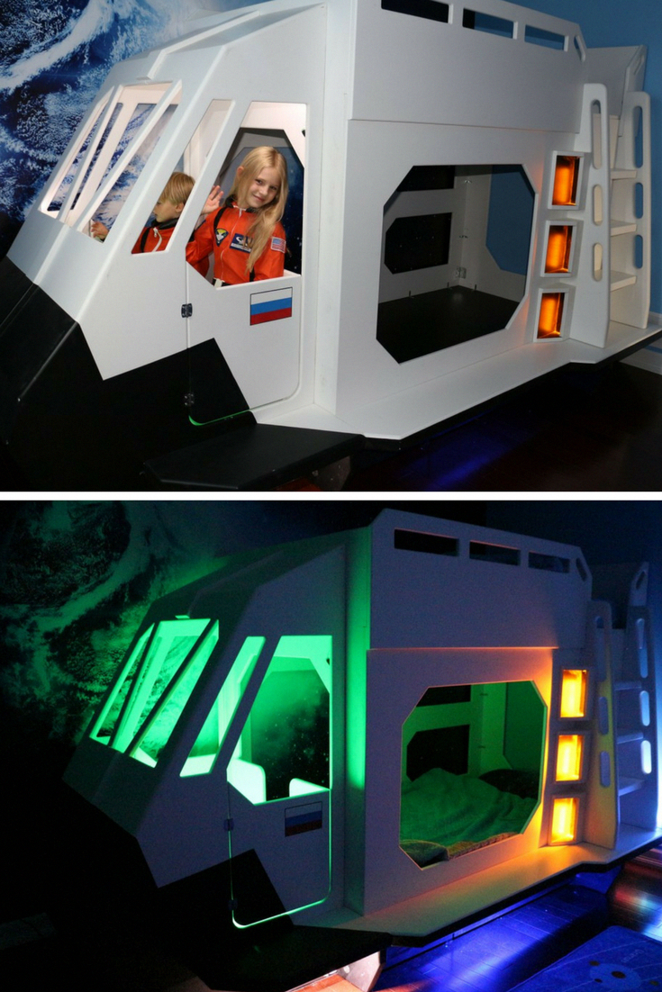 Boys' loft bed with slide (box 2)  Let your child light up the night with their own out of this world