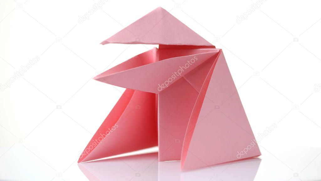 Photo of Pink origami frog isolated on white. – Stock Photo , #Aff, #frog, #origami, #Pin…