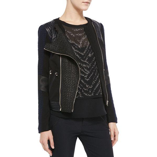 Rebecca Taylor Women's Two-Tone Combo Moto Jacket - Navy/Black (10)
