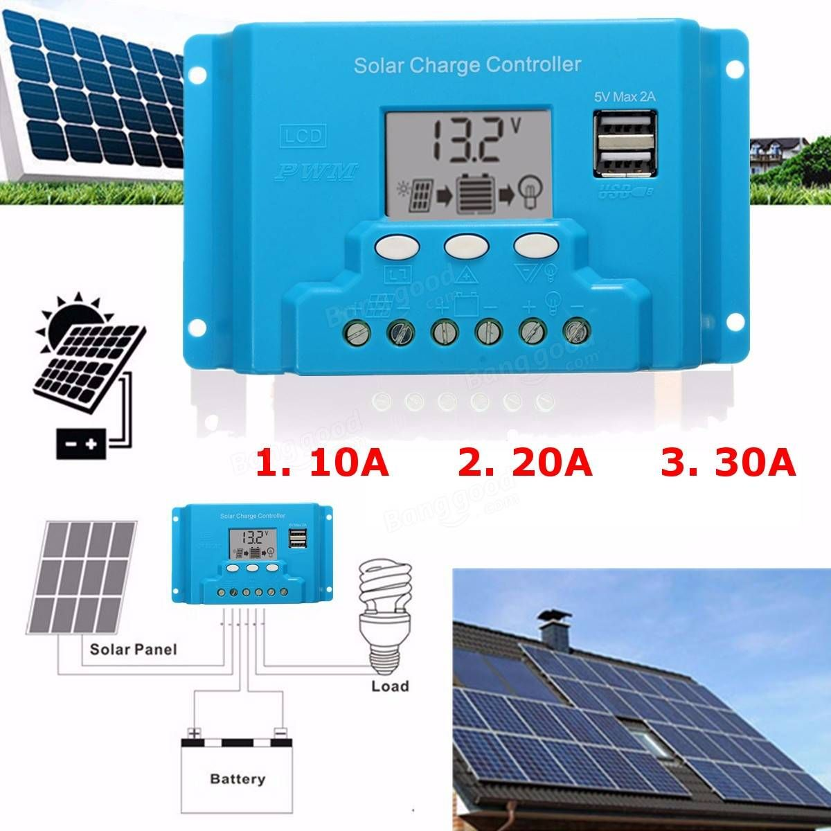 10a 20a 30a Lcd Pwm Solar Panel Charge Controller Battery Regulator 12v 24v With Dual Usb Solar Panel Battery Solar Panels Car Usb