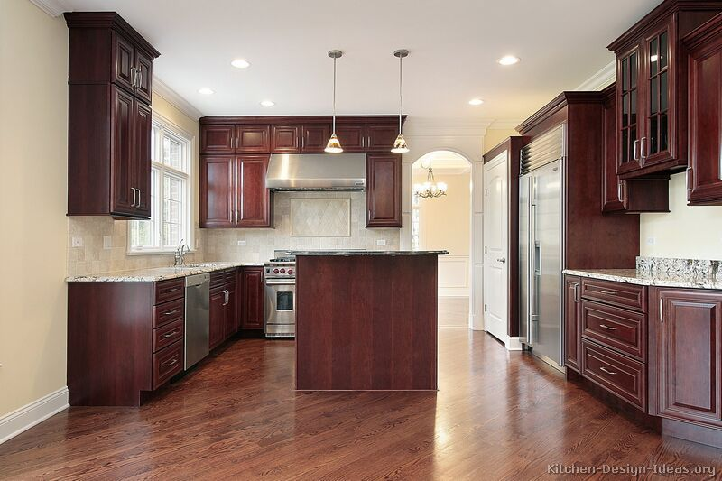 Traditional Dark Woodcherry Kitchen Cabinets #40 Kitchendesign Pleasing Dark Wood Cabinets Kitchen Design Inspiration Design