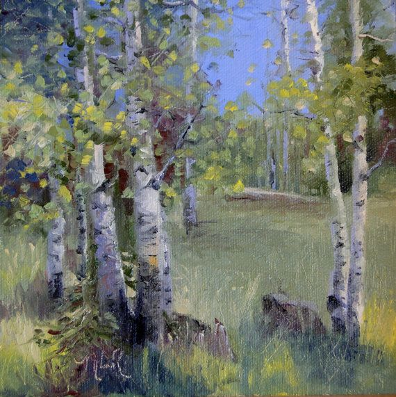 Original oil painting impressionism Aspens in Greer by nancyartist, $75.00
