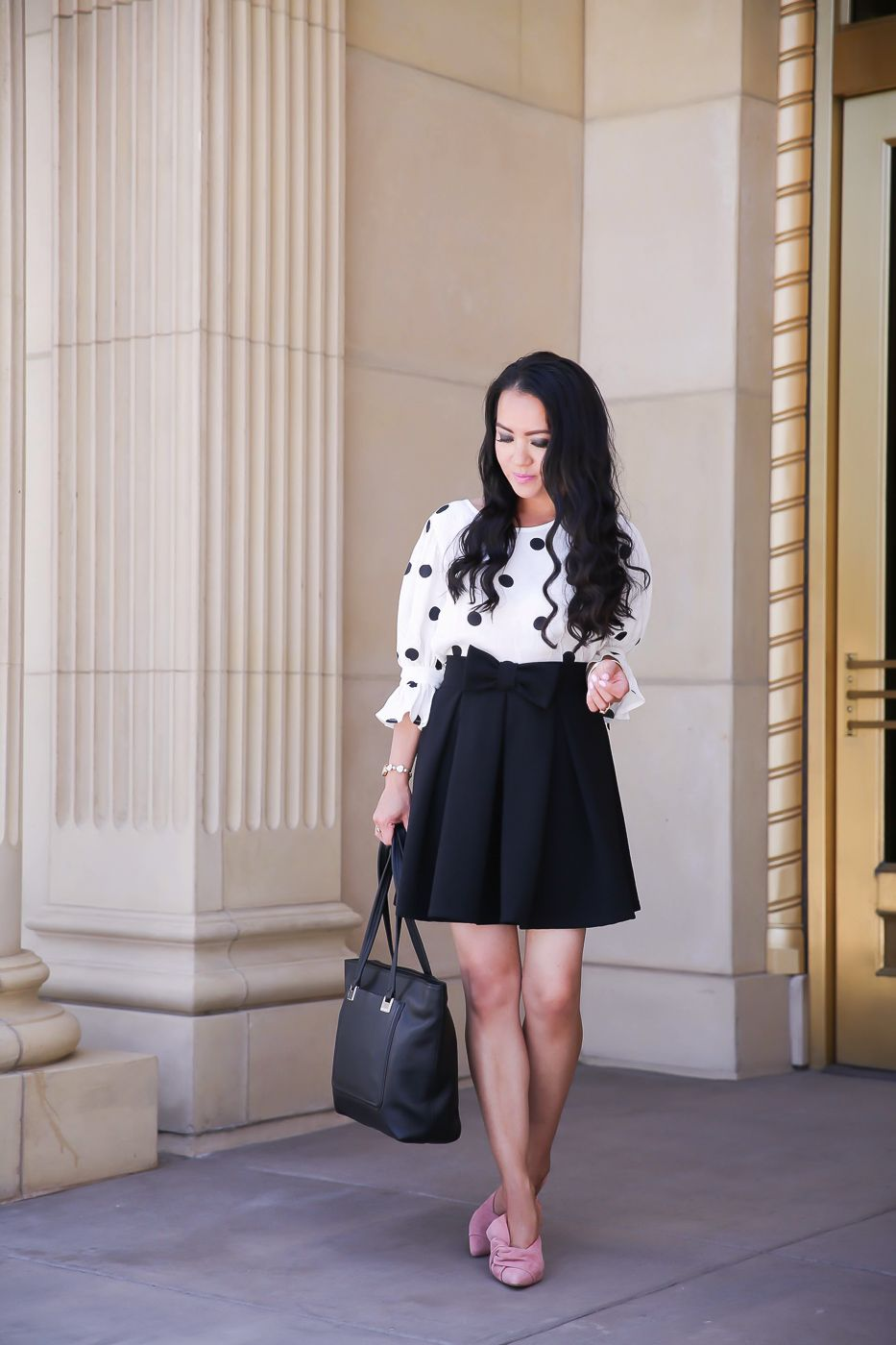 9697cf5190 pink bow mules polka dot blouse bow skirt work outfit black leather tote