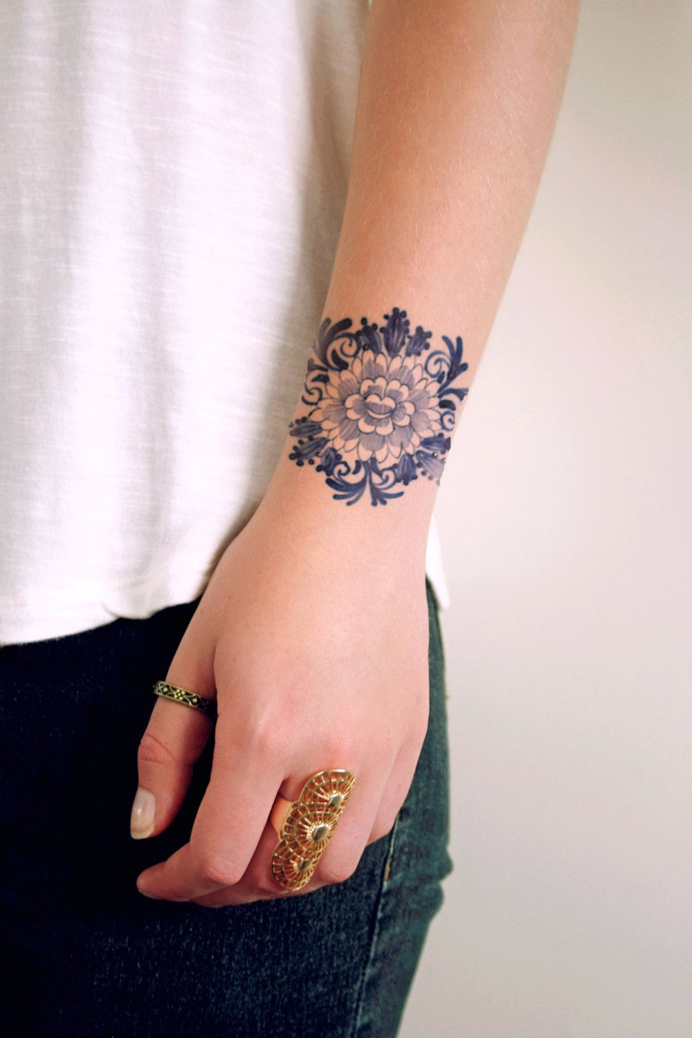 Tattoo Mädchen Delft Blue Temporary Tattoo Floral Temporary Tattoo Flower