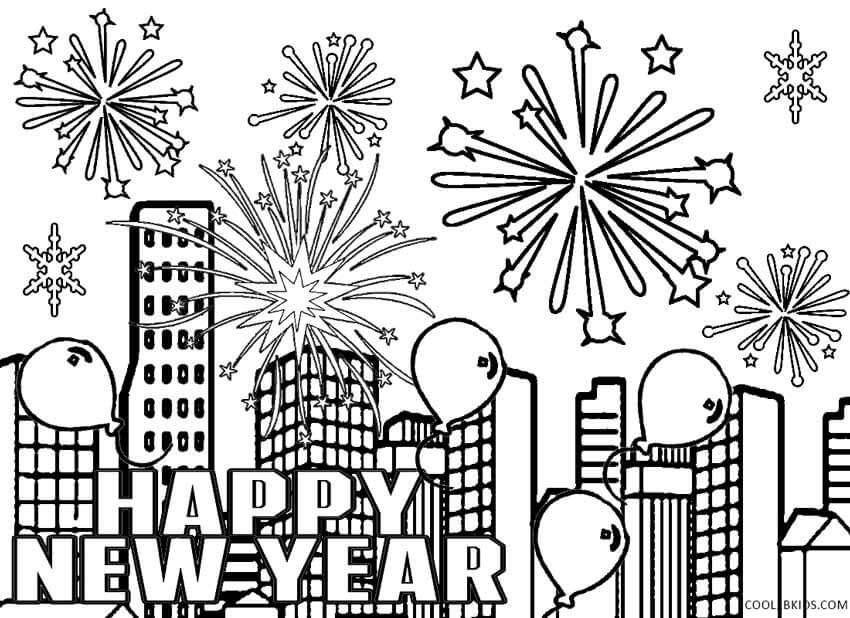 Happy New Year 2018 Fireworks Coloring Page New Year