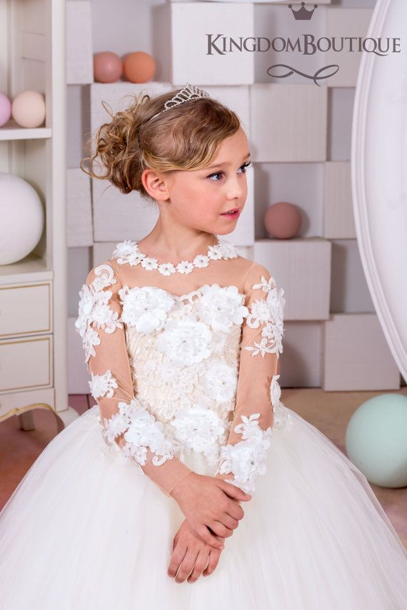 Ivory and Nude Lace Flower Girl Dress - Wedding party Holiday ...