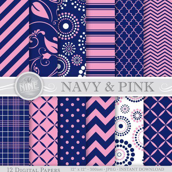 6b666d520a9e5 NAVY BLUE PINK Digital Paper: Navy Pink Printable Pattern Print ...