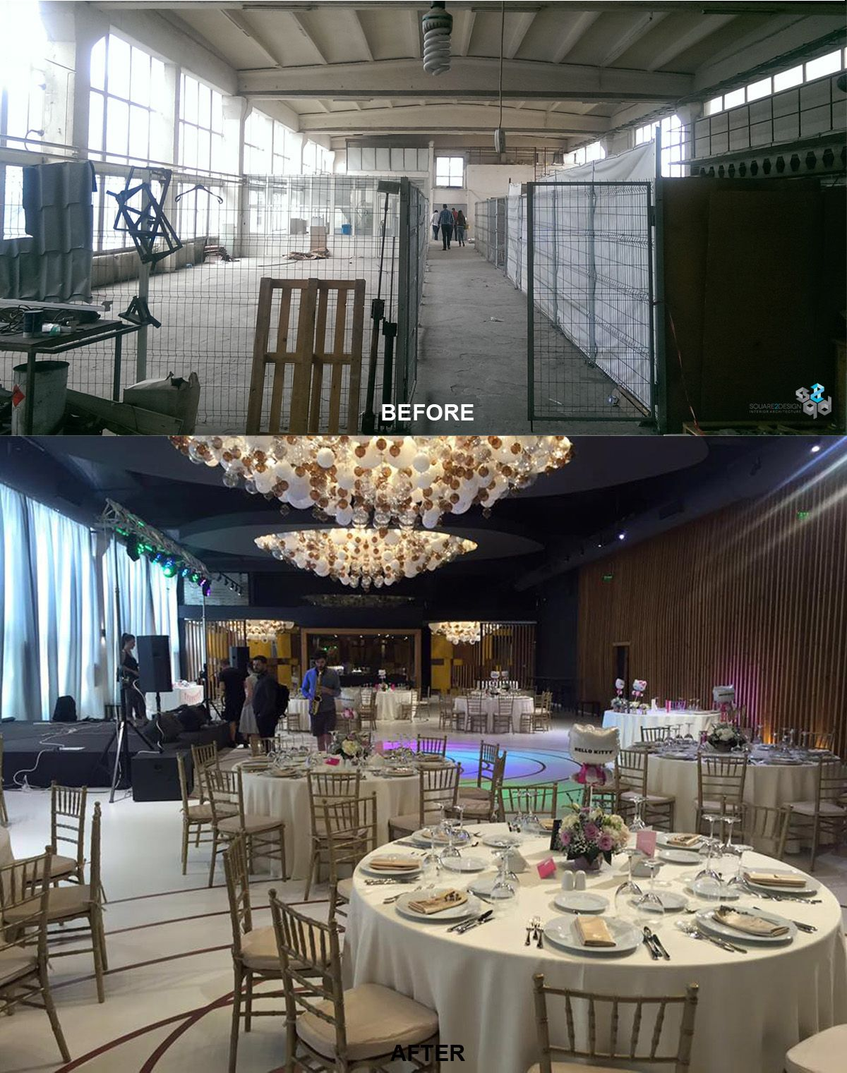#before #after #interiordesign #wedding #salon #venue #bucharest #square2design #modern #custommade #chandeliers
