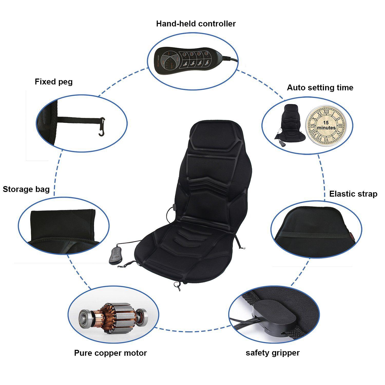 Idodo 8 Motor Vibrating Car Shiatsu Seat Cushion Cover Pad Massager