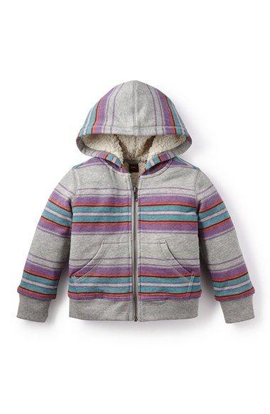Tea Collection 'Sarita' Zip Front Stripe Hoodie (Little Girls & Big Girls)