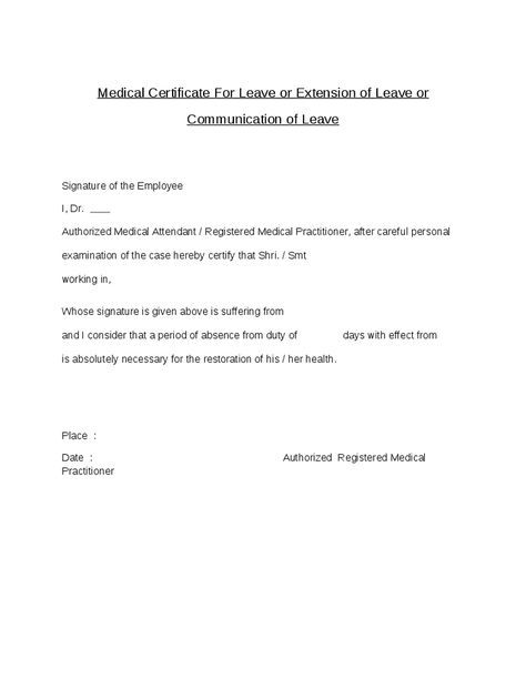 Certificate For Leave Extension Communitation Medical Absence
