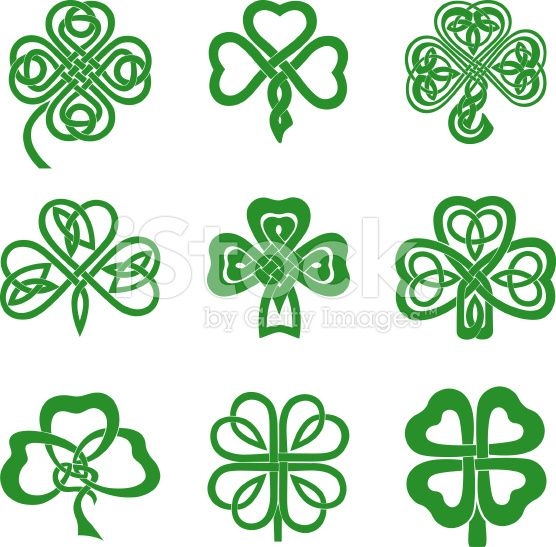 Collection of Celtic Knot Shamrocks including three and four leaf ...