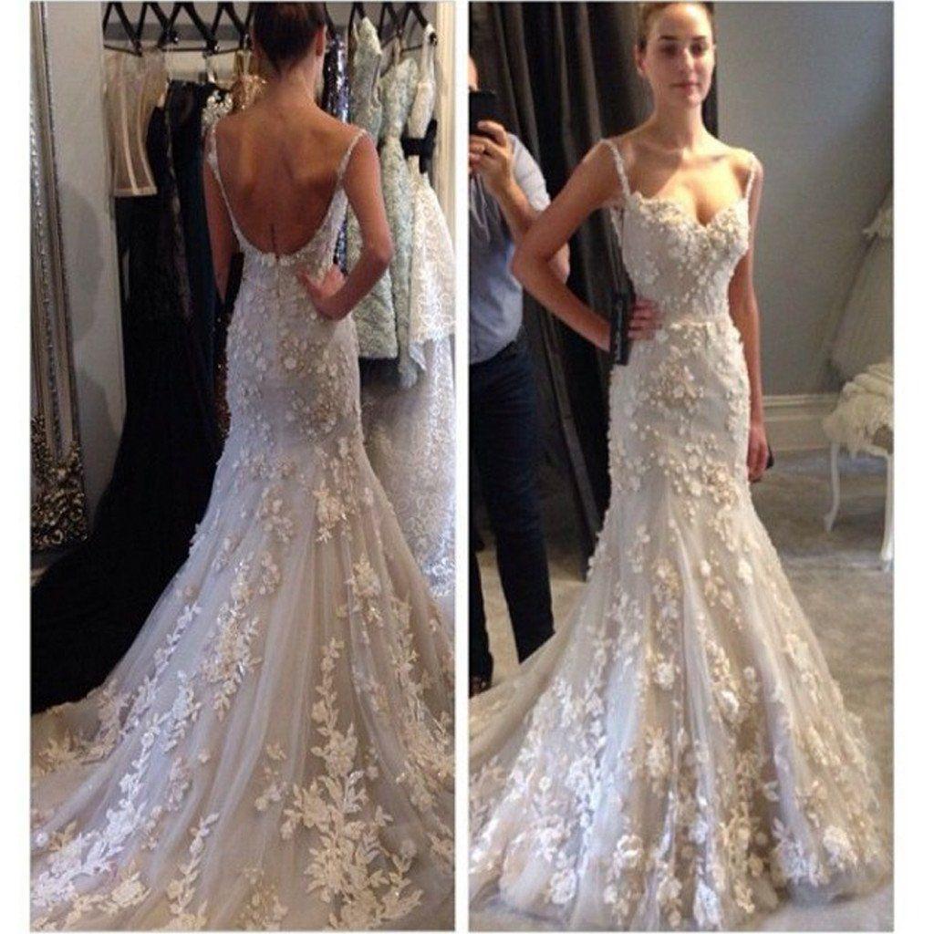 Unique style wedding dresses  Appliques Spaghetti Straps Backless Mermaid Sexy Unique Style
