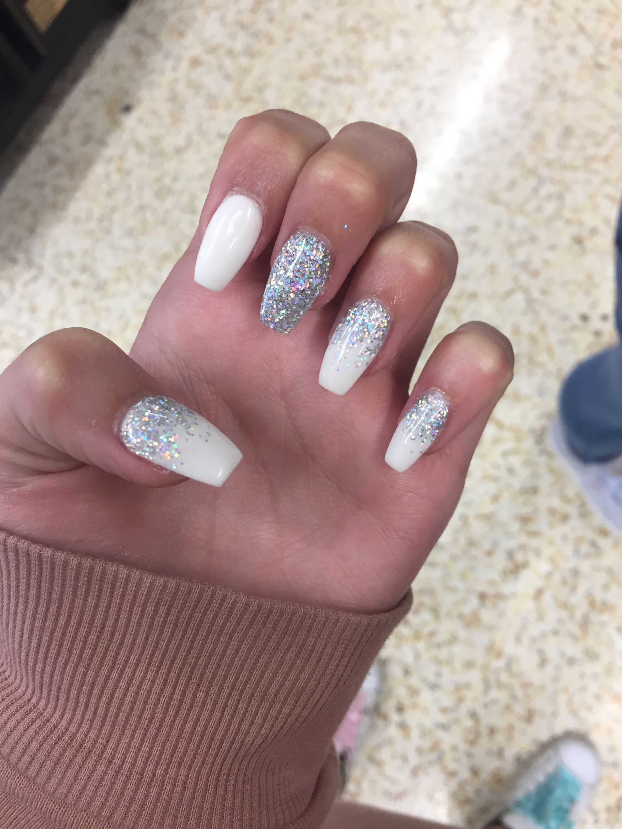 my white and silver glitter ombr233 nails xx nails in 2018