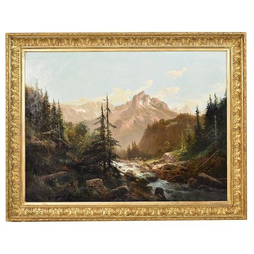 Mountain Landscape painting, scenery painting which represents a Shepherd And Flock.This antique oil painting on canvas has an original gold frame realised in the 1800s.The oil painting dates back to the late nineteenth Century and it represents one of the most beautifulpaintings of Bisgart Collection of Antique Paintings of the 19th Century.This landscape art work, XIX Century, is signed by GODCHAUX EMILE (1860-1938),a very important French painter, who mainly painted mountain landscapes,