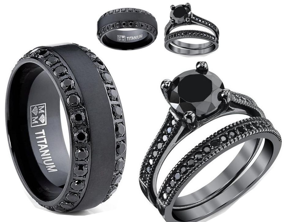 His mm black titanium cz and her black ss cz wedding
