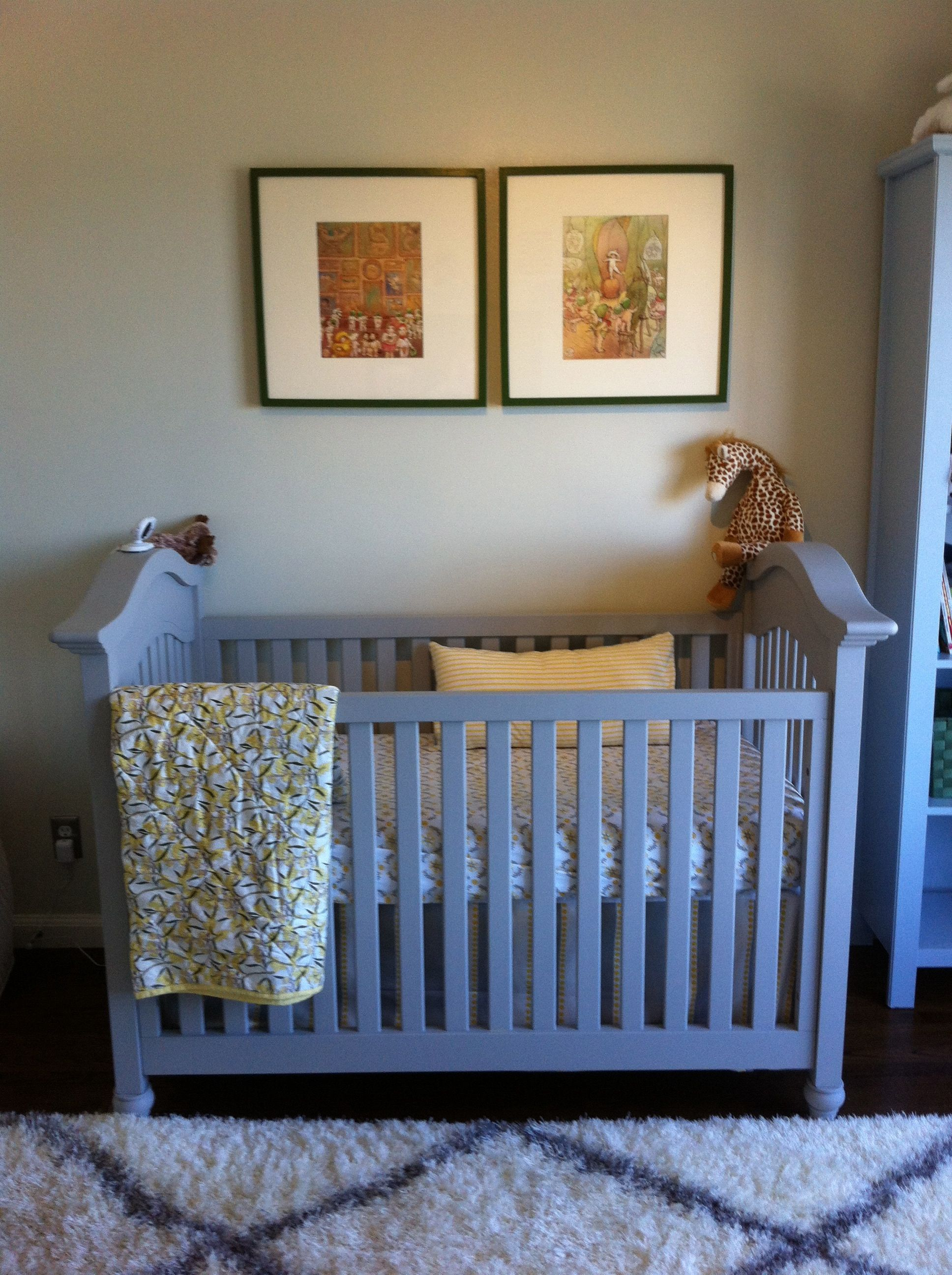 Katie Gavigan Interiors Australia Meets Mexico Baby Nursery Snugglepot And Cuddlepie Art Gray Green Blue Yellow