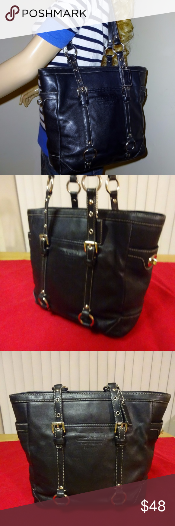 SOLD!! Legacy Black Leather Lunch Tote F11524 Black