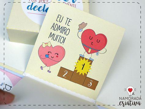 Diy Caixa Explosiva Ilustrada Amor Declarado Surpresa