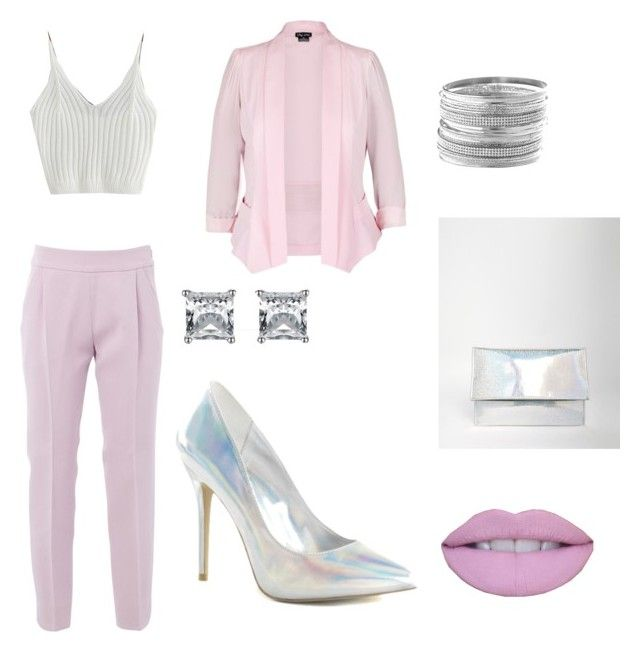 """let's talk business"" by cuntore on Polyvore featuring Giambattista Valli, City Chic, Pleaser, ASOS, Avenue, Pink, croptop, blazer and hologrampumps"