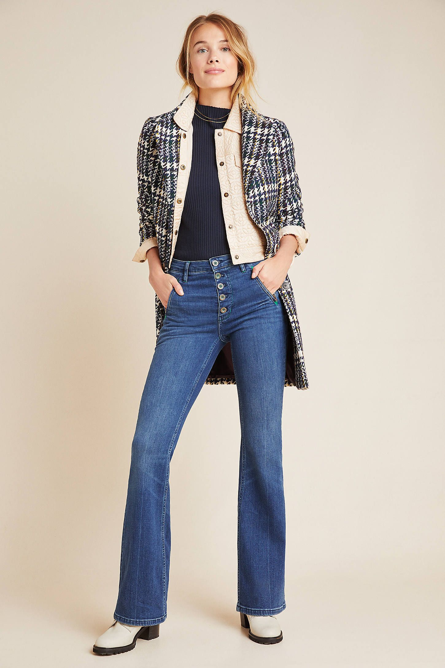Pilcro Button Fly High Rise Bootcut Jeans | High rise