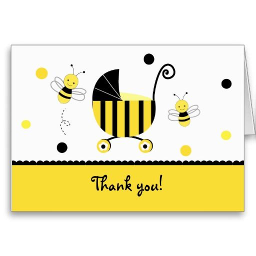 Bumble Bee Baby Shower Folded Thank you note cards Bumble Bee - baby shower thank you notes