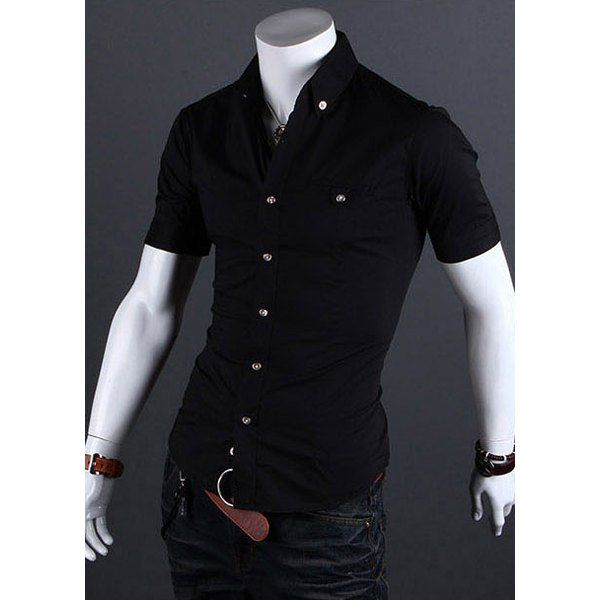 6964de9eb4e Stylish Shirt Collar Metal Buttons Slimming Short Sleeves Polyester Shirt  For Men