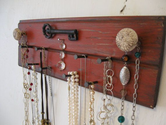 Rustic Jewelry Holder 16 Inches Long Bracelet Necklace Storage