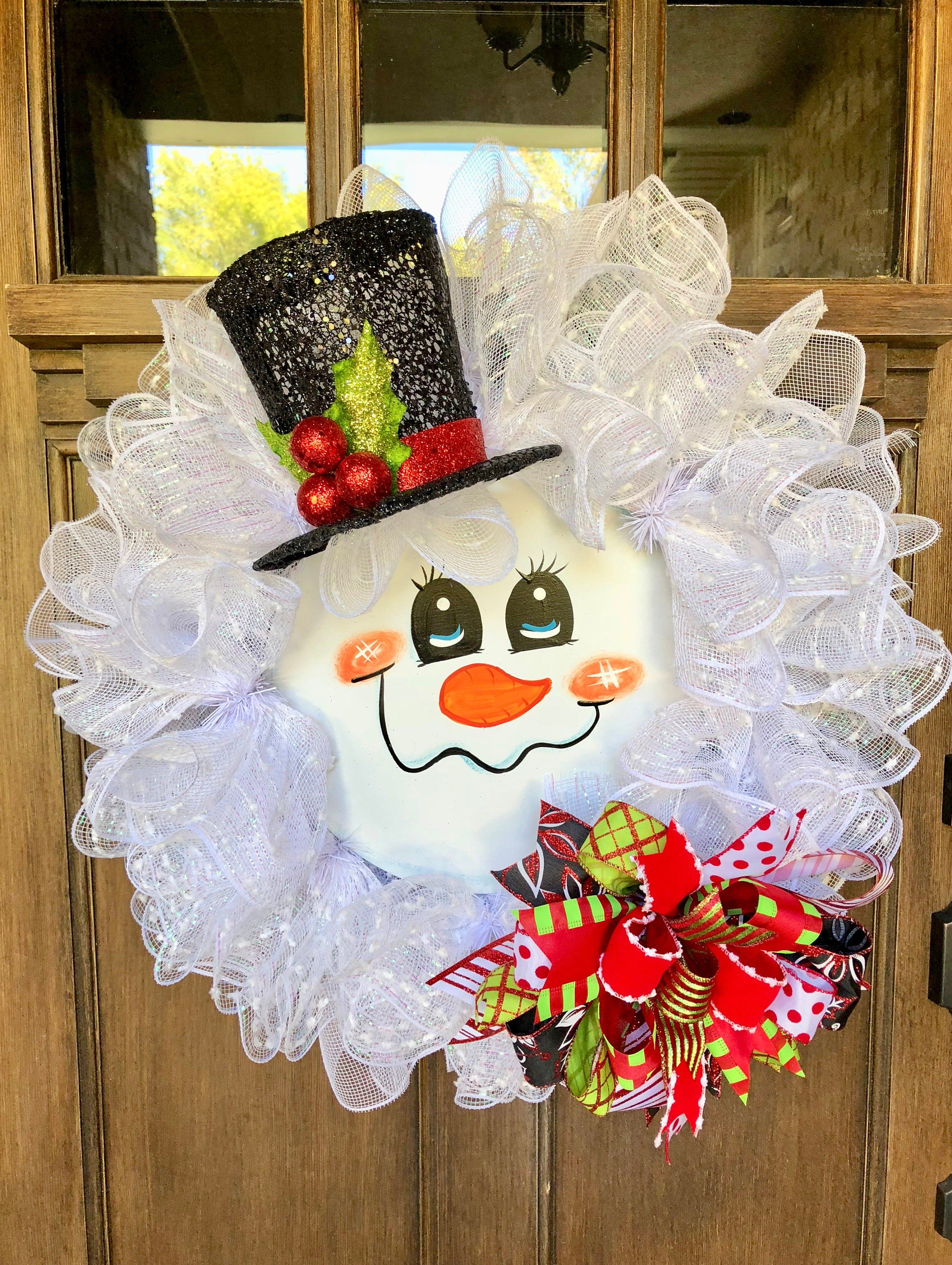 Snowman Christmas Wreath Snowman Wreath Deco Mesh Whimsical