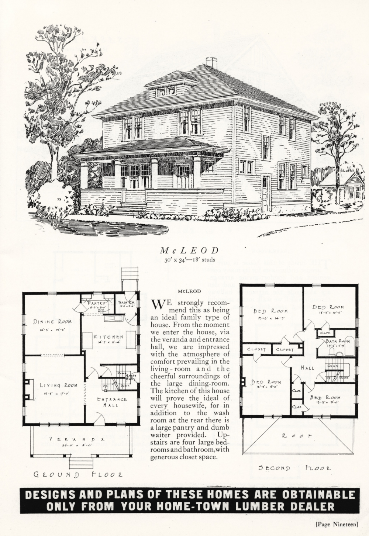 Canada 1926 Mcleod A Large Foursquare Box House Vintage Home Plans Vintage House Plans Four Square Homes Vintage House