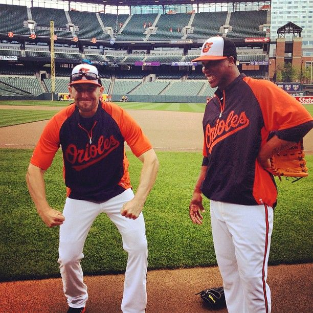 Orioles relievers Darren O'Day and Pedro Strop goofing off!  Be sure to follow MASNOrioles on Instagram!