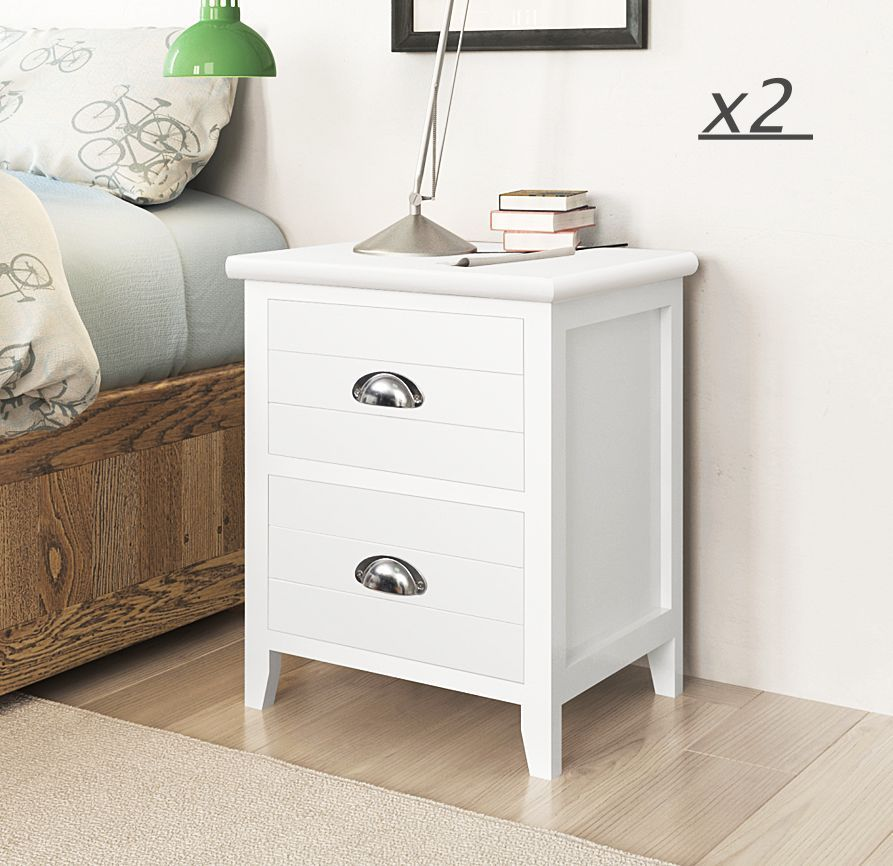 Pair of White Wooden End Side Bedside Table with 2 Drawers Storage Nightstand