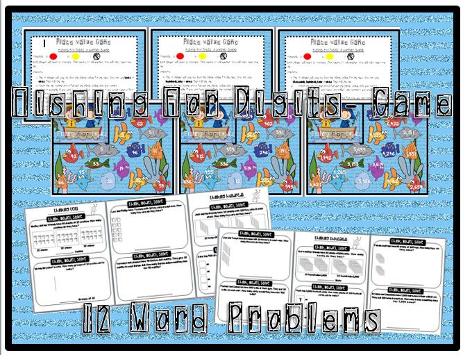 place value unit- fishing for digits math game with 2, 3 and 4 digit - place value unit