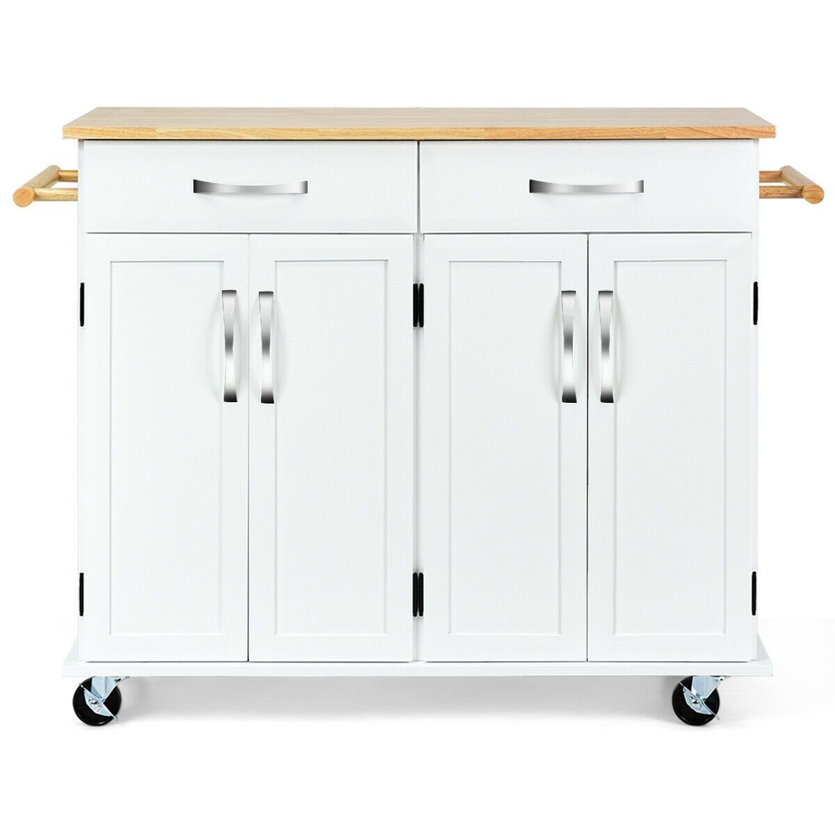 Wood Top Rolling Kitchen Trolley Island Cart Storage Cabinet In 2020 Cabinet Kitchen Trolley Moveable Kitchen Island