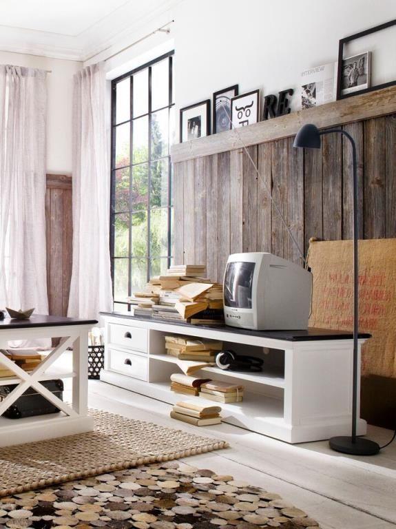 e62378718199c9 Meuble TV en bois blanc plateau noir 2 tiroirs 180x45cm acajou ROYAN -  Meuble 45 Cm