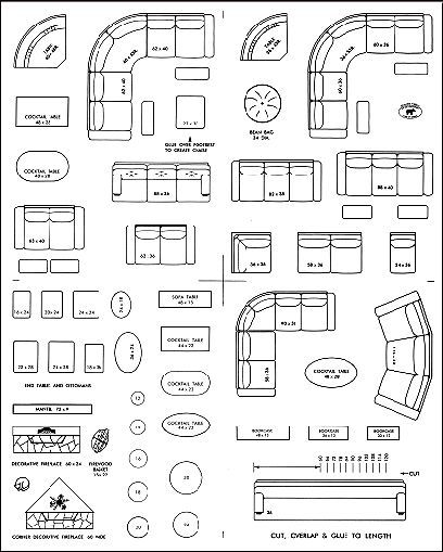 Interior Design Furniture Templates Printable ~ Pattern for building quarter scale miniature dollhouse