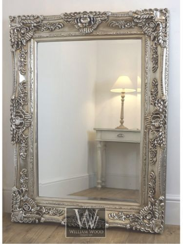 "Oversized Wall Mirrors ella silver ornate rectangle antique wall mirror 61"" x 49"" x large"