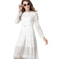 Hot sale women elegant black/white lace dress summer spring hollow out high quality full sleeve plus size Vintage party dress