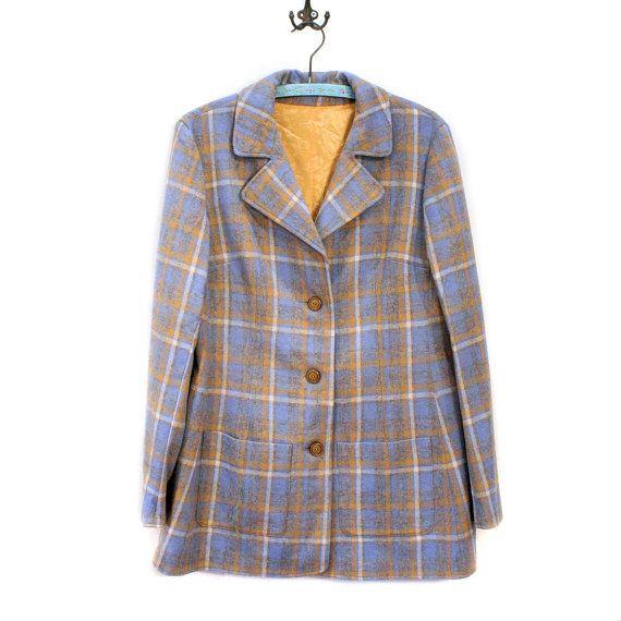 'McTwain' 60s Coat, Plaid Car Coat, Blue Wool Swing Coat M from MorningGlorious