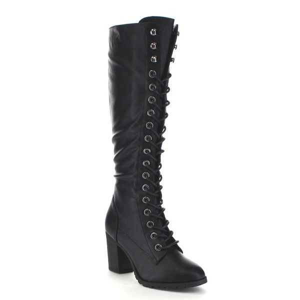 Women's Stylish Solid Round Toe Buckle Mid Chunky Heel Knee High Boots