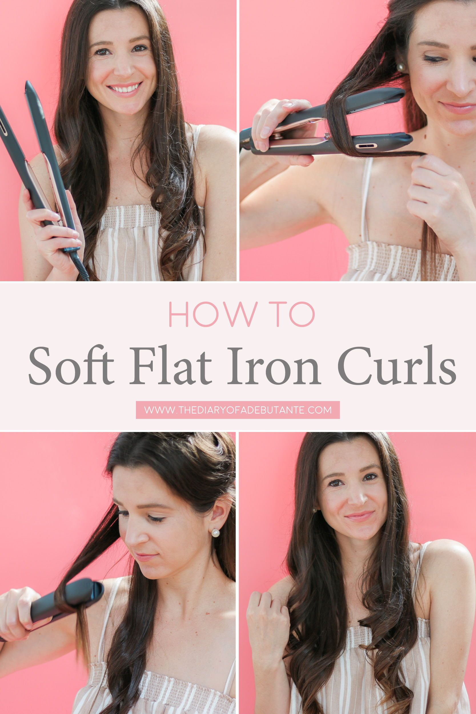 Easy Soft Flat Iron Curls Tutorial The Best Flat Iron For Thick Hair Thick Hair Styles Flat Iron Curls Curls For Long Hair