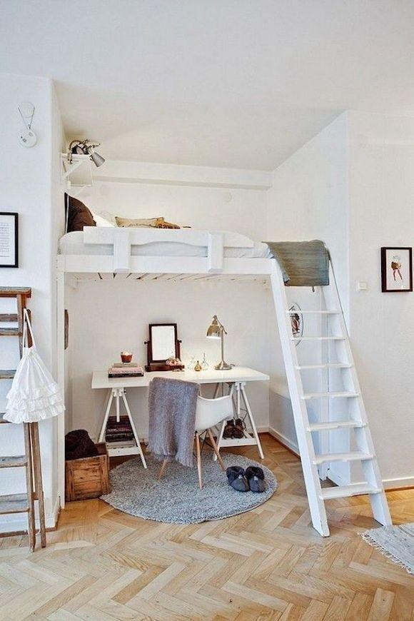 Schöne Einrichtungsinspiration fürs WG-Zimmer: Hochbett mit Leiter ...