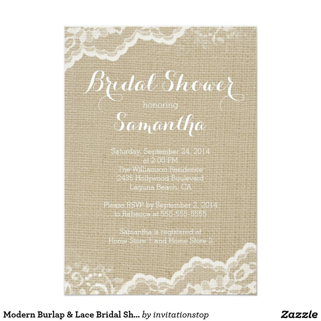Modern Burlap & Lace Bridal Shower Invitation 5\