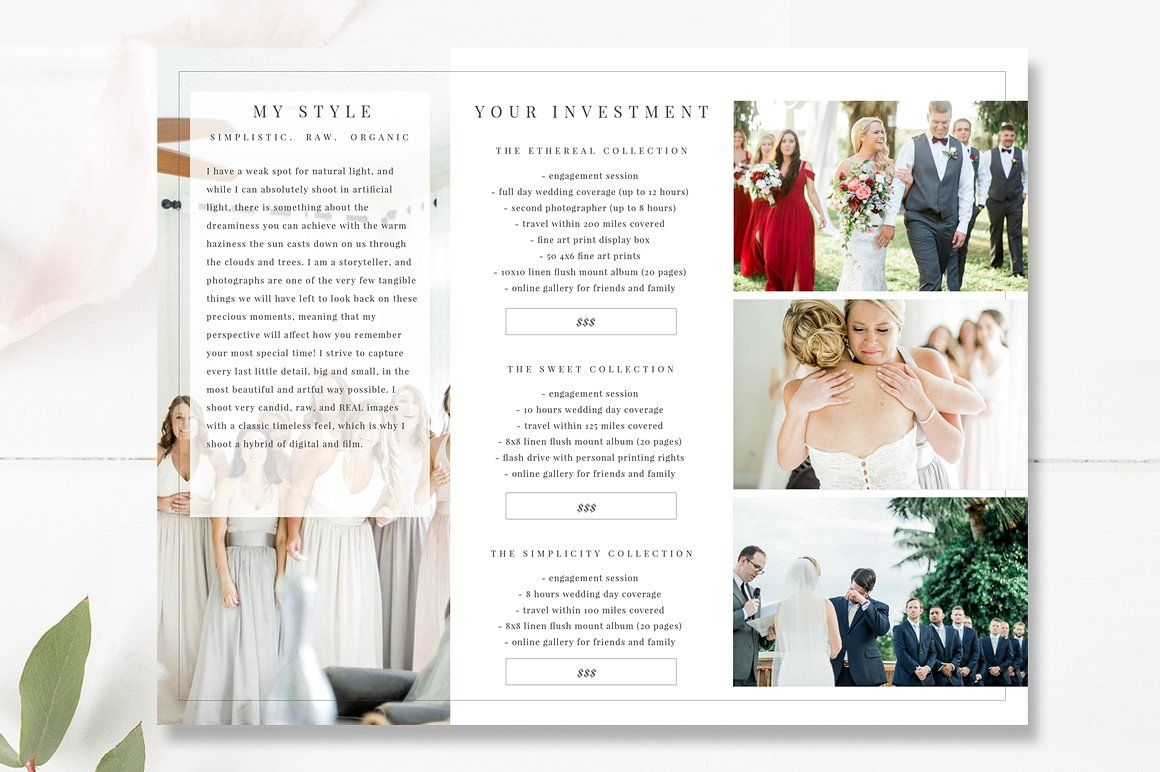 Wedding Photographer Brochure Psd Brochure Psd Photoshop Template Design Photography Marketing Templates