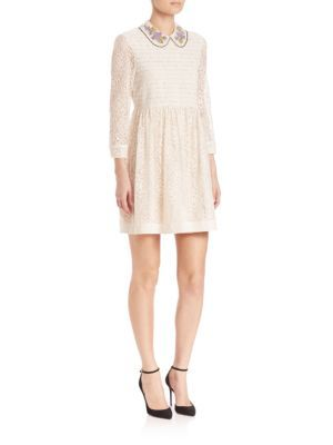 RED VALENTINO Chantilly Lace Collared Dress. #redvalentino #cloth #dress