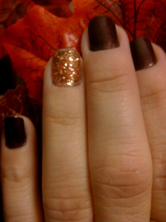 My Fall Nails (brown & orange glitter)