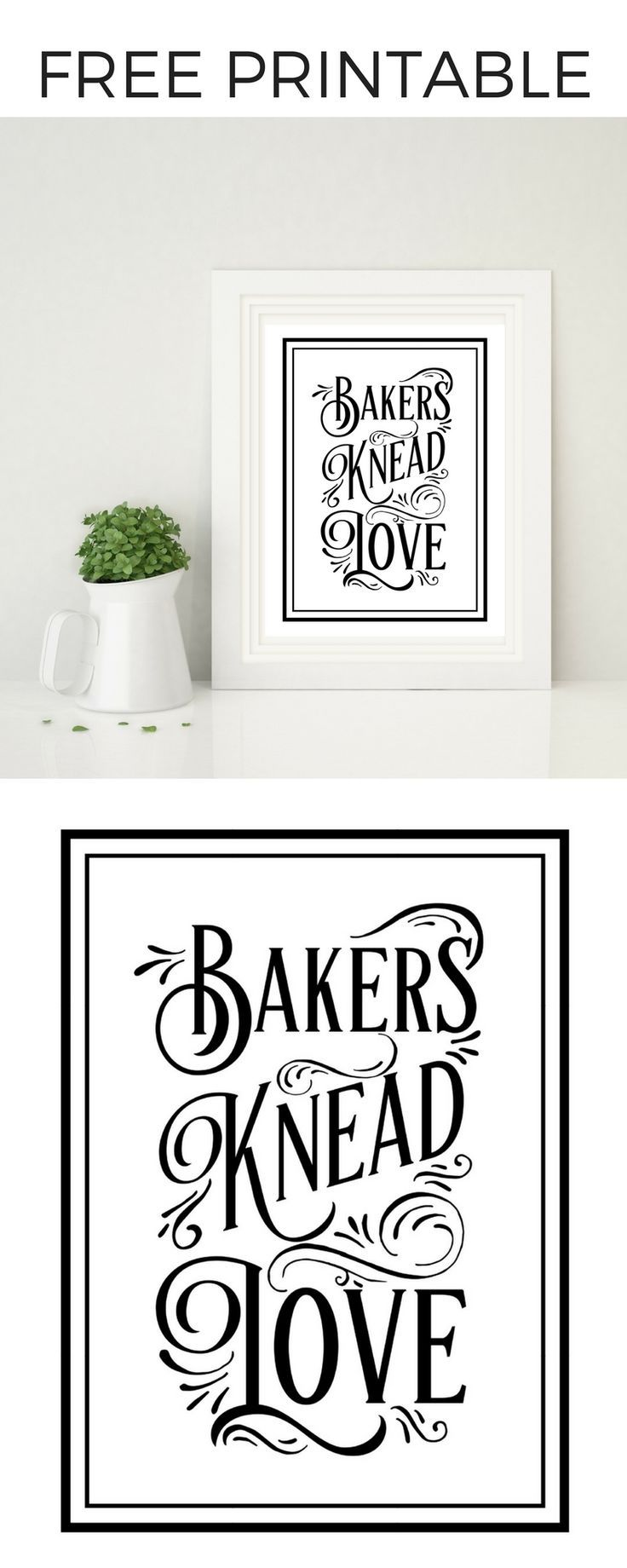 Free Printable - Bakers Knead Love | Free printable, Free and Free ...