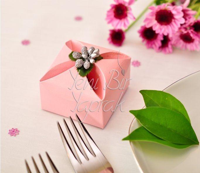 Açık Pembe Çiçek Kutu #nikah #şekeri