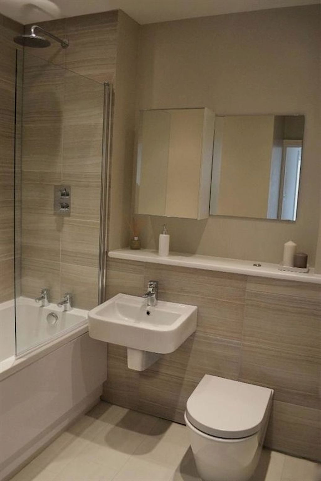 Enhancing The Feeling Of Space In Small Bathrooms Home To Z Beige Bathroom Simple Bathroom Simple Bathroom Designs